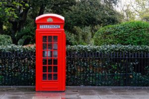 Traditional red telephone box in London